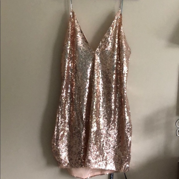 a620787994 Rose Gold Chain Strap Sequin Plunge Bodycon Dress